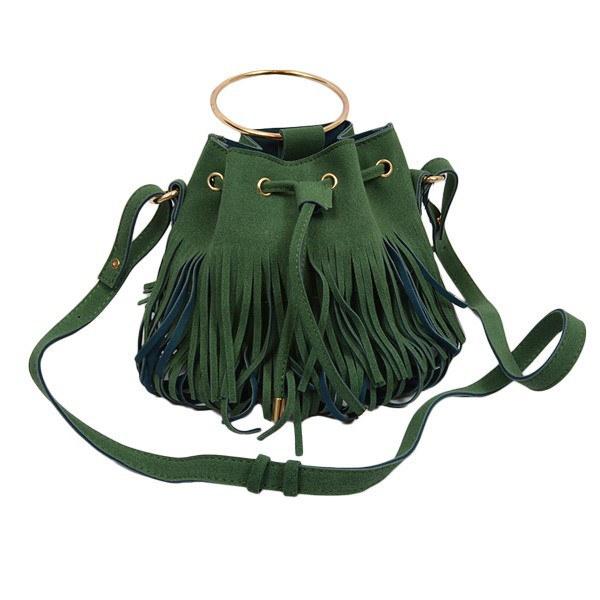 バッグ フリンジバッグ 巾着型 ショルダーバッグ ドロストリング 鞄 レディースバッグ グレー グリーン