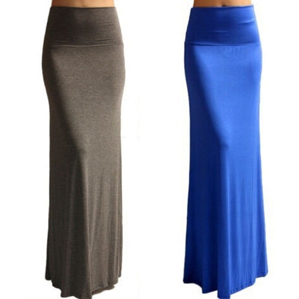 Women Fashion Sexy Long Skirt Candy Color Fishtail Wrap Hip Large Swing Slim Maxi Dresses Jupe