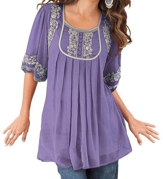 プラスサイズの女性ファッション半袖スクープネックルーズシフォントップTシャツチュニックS-5XL