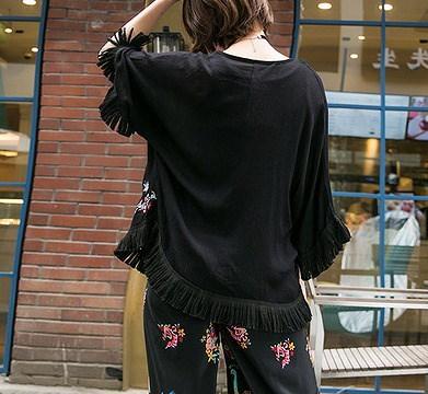 リチャオ2017♪NEW【海外買付】ボヘミア風 民族風 ジャケット全2色 ishow-18w-8858【ca】アウター ジャケット ロング丈