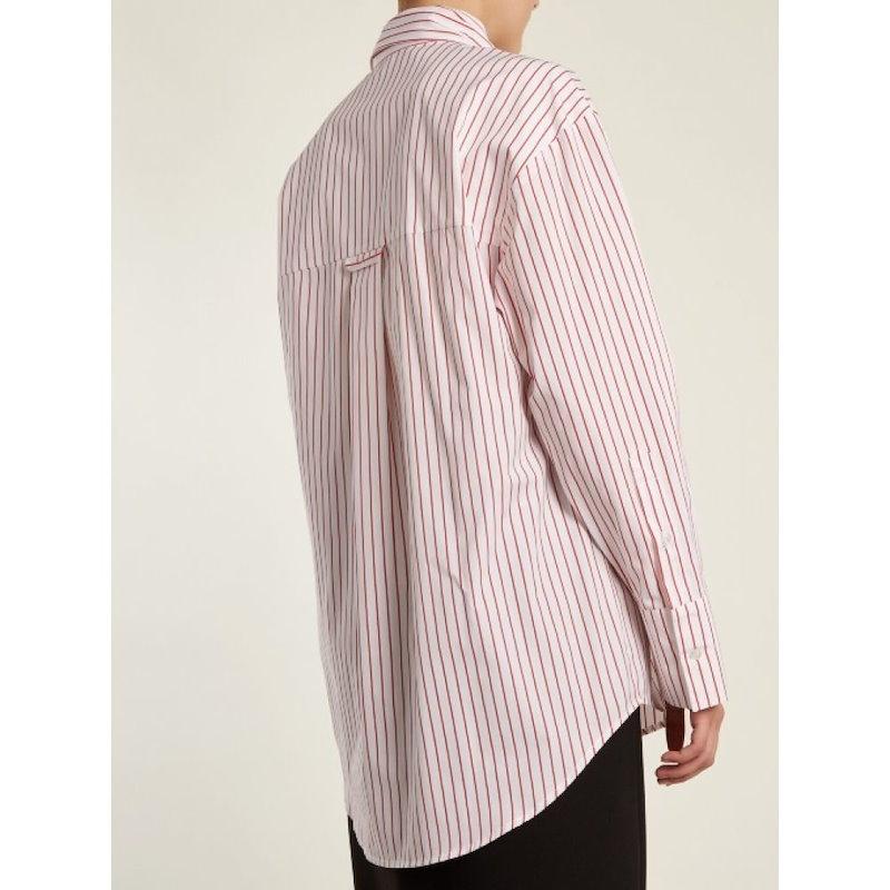 エムエスジーエム レディース トップス ブラウス・シャツ【Striped tie-neck cotton shirt】White