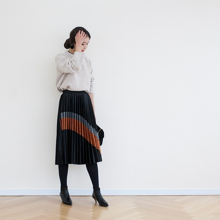 韓国ファッション ラウンドネックニット【メール便不可】