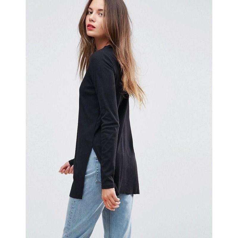 エイソス レディース トップス【ASOS TALL Top In Textured Rib With Long Sleeves and Side Splits】Black