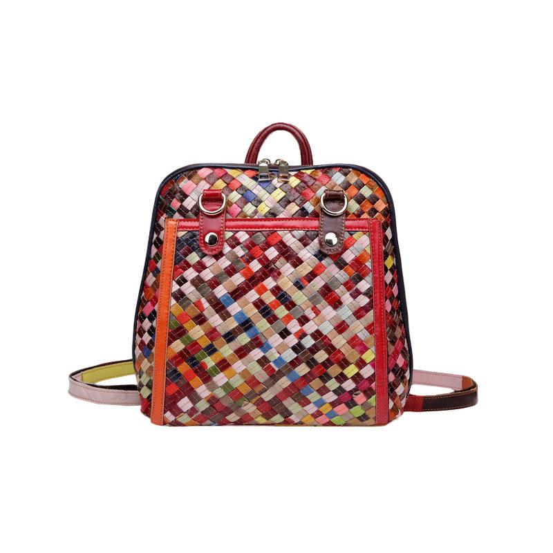 【予約】【送料無料】本革編みリュックサック/ハイクオリティー/女子鞄/通学/旅行/ファッションバッグ/バックパック/-2 colors