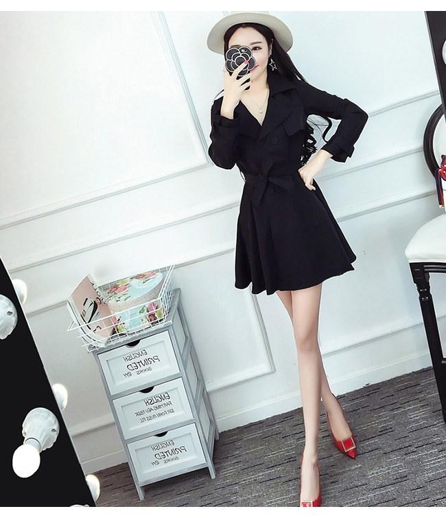 レディース服 女性 ファッション 秋服 ダブルボタン コート アウター トレンチコート ゆったり ワンピース ロング イエロー ブラック 大きいサイズ 体型カバー カジュアル
