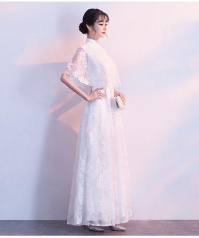 フラワーレース ケープデザイン ロング ドレス パーティ