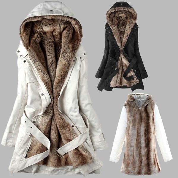 ファッション女性の冬のフェイクファーライニングの毛皮のコート暖かい長いコットンパッドのジャケットの服レディースコート