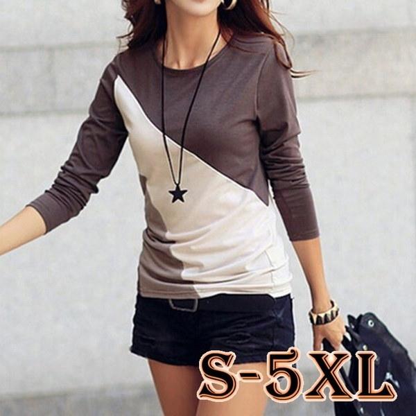 ファッション秋の女性ロングスリーブチュニックブラウスシャツ