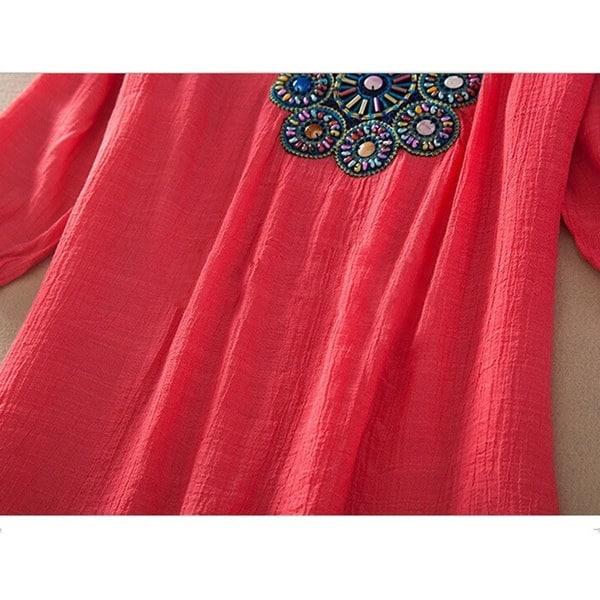女性のBlusas Femininasファッション刺繍半袖クラシックルーズスリムトップスシャツブラウスカジュアルSt