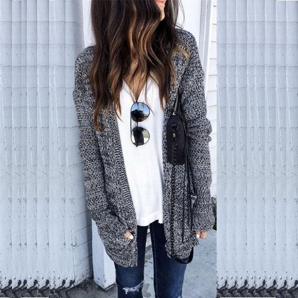 レディースセーターコートファッション秋冬レディース不規則なニットアウターウェア女性服