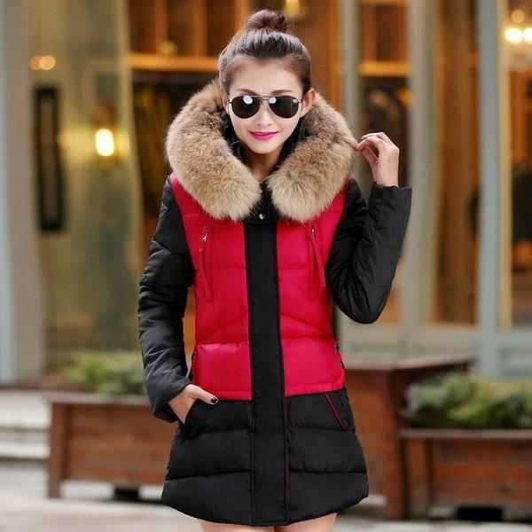 長いデザイン厚い毛皮のフード付き厚手コート冬の女性ダウンジャケット2016新しい暖かいコットンWaddedレディース