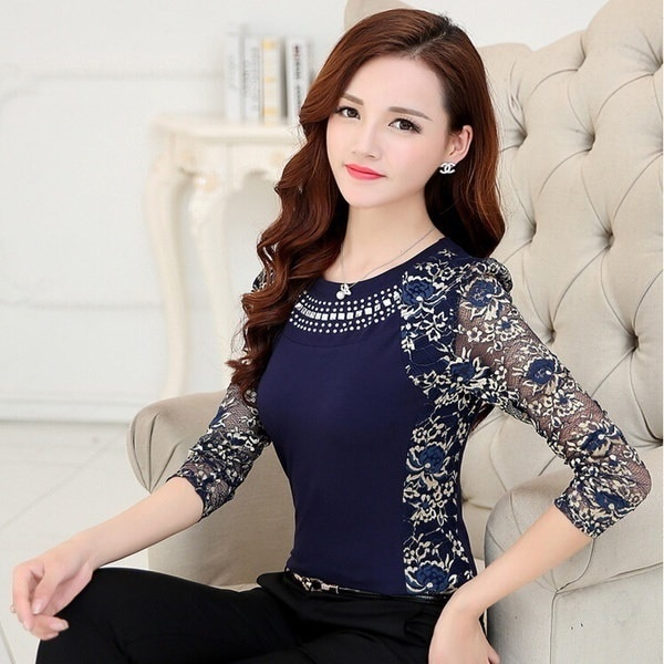 プラスサイズXS-5XLオートムウインター女性の長袖スリムレースブラックとブルーの色ブラウスシャツ