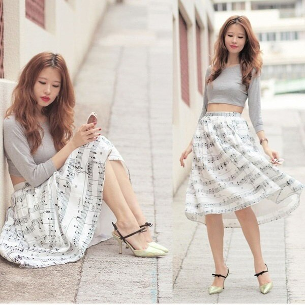 Fashion Women Spring Summer Elegant Musical Stave Note Print Half-body Princess Dress Bubble Skirt O