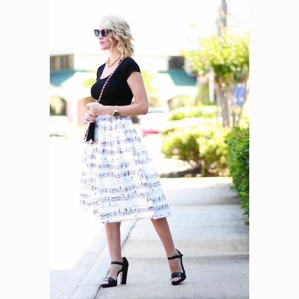 Fashion Women Spring Summer Elegant Musical Stave Note Print Half-body Princess Dress Bubble Skirt O