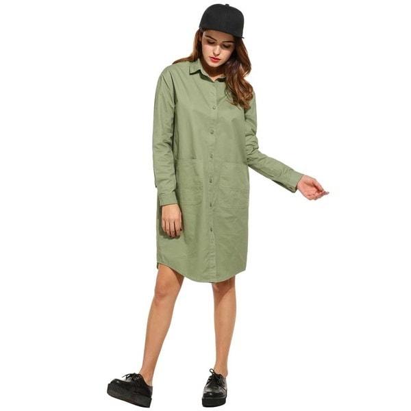 女性のカジュアルターンダウンカラーロングスリーブソリッドミッドロングシャツドレス2色