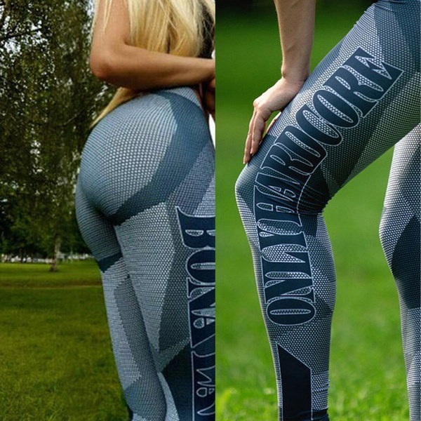 女性の薄い印刷圧縮ランニングタイツヨガワークアウトパンツスポーツジムスリムフィットネスズボン