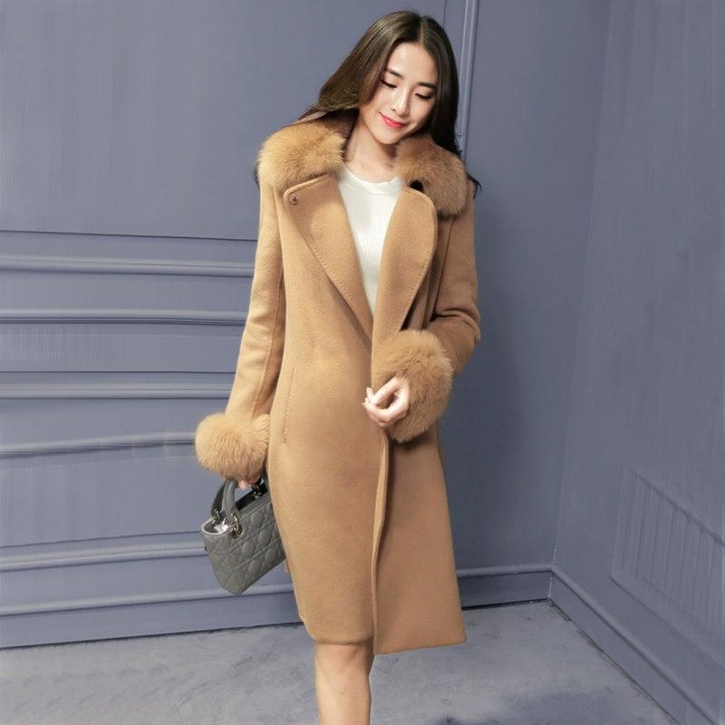 【2017新品】韓国のファッション/ベーシック/女性美UP↑/アウター/ジャケットコート/コート/毛毛袖口大衣●
