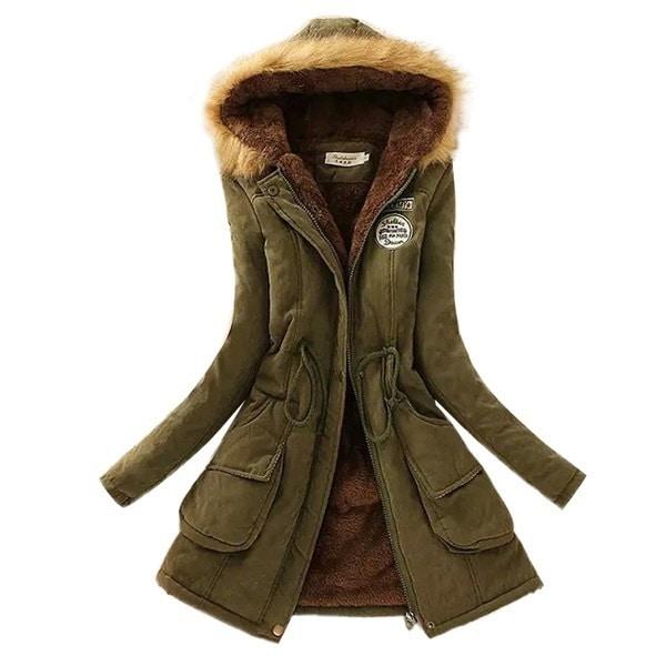 ウォームパーカスレディースコートファッション秋冬ジャケット女性ファーカラーロングパーカープラスサイズパーカー