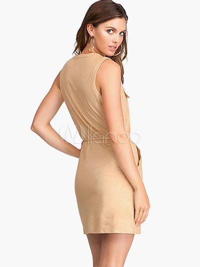 Lace Up Suede Short Dress