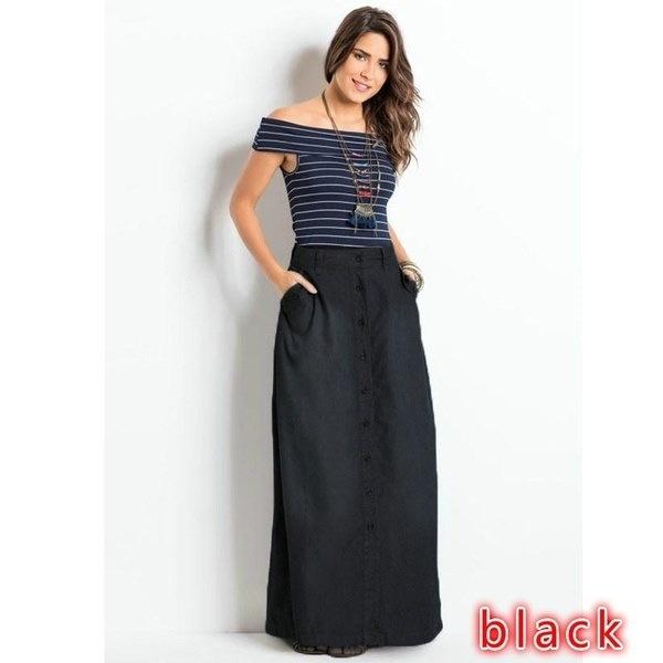 4色新しい女性ファッションブルージーンズポケットフロントボタンロングスカートプラスサイズZF9362