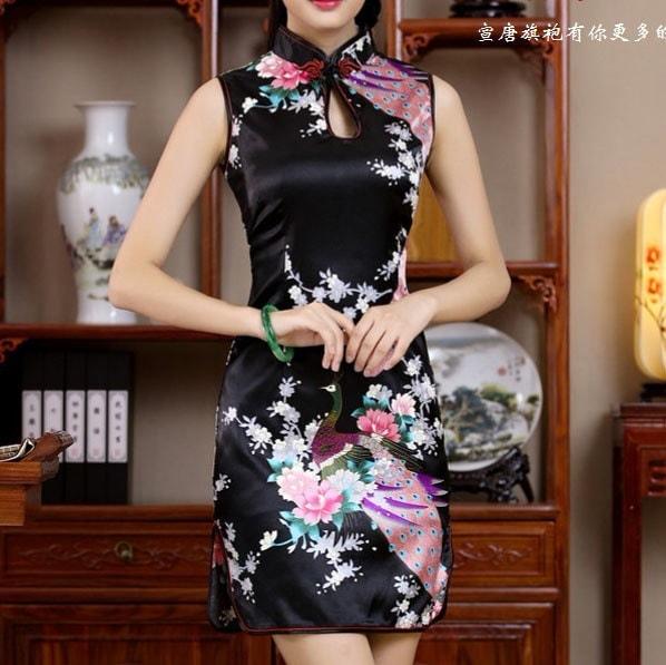 ピーコックCheongsam中国のドレス女性のための中国のウェディングドレスの刺繍ドレス