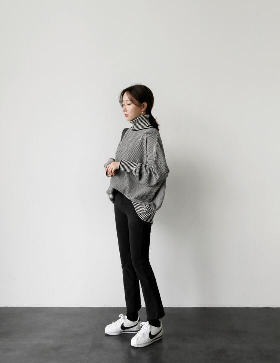 [55555SHOP]★ ビオベルタートルネックニット / おしゃれなシルエットのファッションコーデー