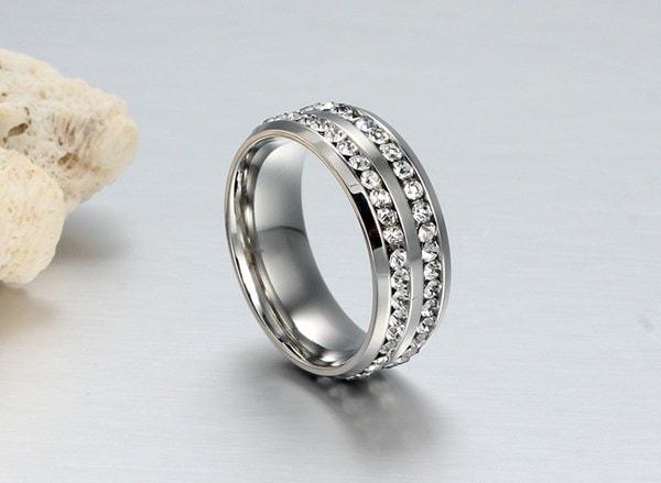 メンズファッションジュエリー925スターリングシルバーホワイトジルコンの宝石婚約指輪サイズ6-13