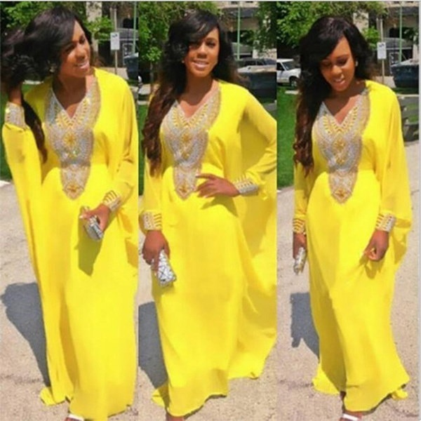 New African Women s Fashion Long Sleeve Printed Party Dress