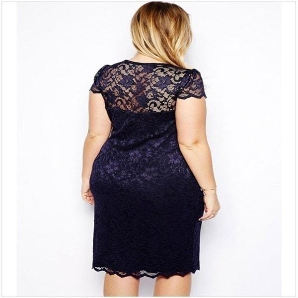 Women s Plus Size Sweet Lace Dress Fashion Summer Sexy V Neck Elegant Dress