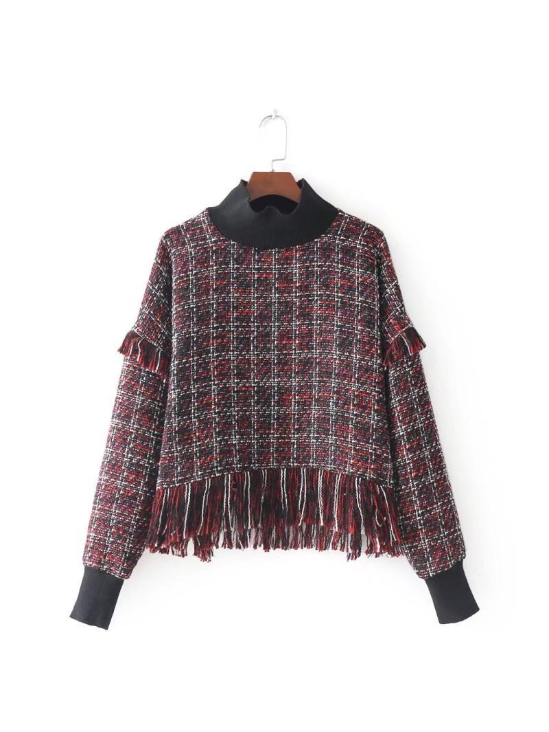 欧米風 切り替え ツイードフリンジ裾ハイネック長袖上着秋冬 ゴム袖口カラー縫代ショートトップス カジュアル 大人 かわいい