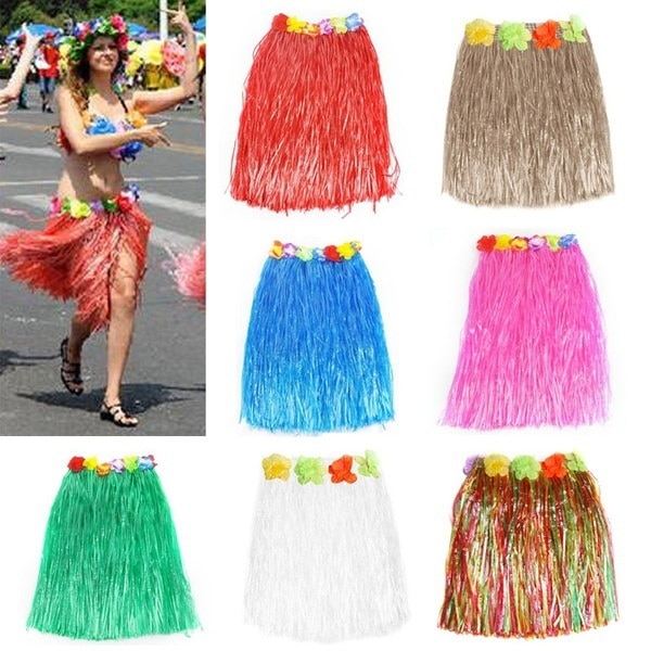 Fashion Tropical Hawaiian Hula Grass Skirt Flower Dancer Skirt Party Dress Beach Dress 40cm Long
