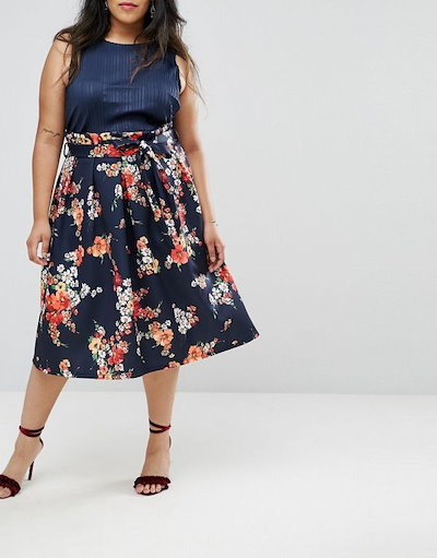 ASOS エイソス レディース 大きめサイズ ゆったりサイズ  送料無料 Navy floral CURVE Paperbag Scuba Prom Skirt in Navy Floral