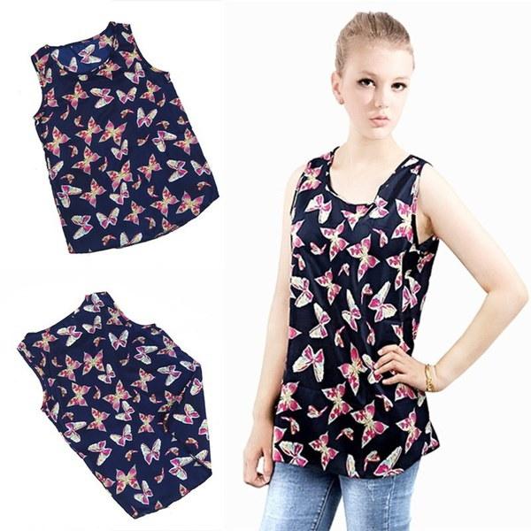 新しいファッション女性の女の子レディースカジュアル蝶プリントノースリーブシフォンタンクトップシャツクルーベスト