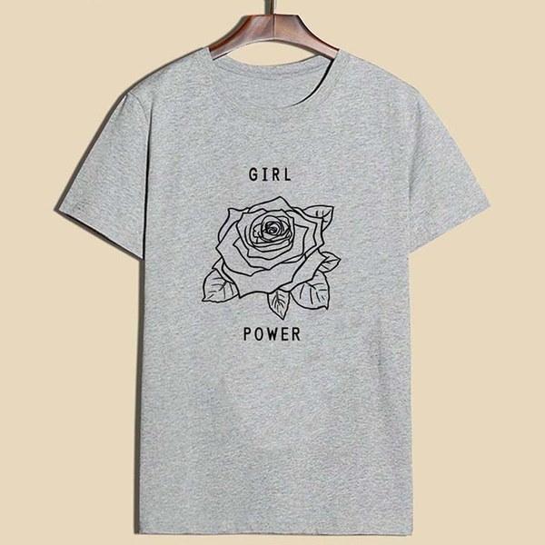 ガールパワーローズプリントTシャツフェミニストシャツレディースムーブメントブラウストップス