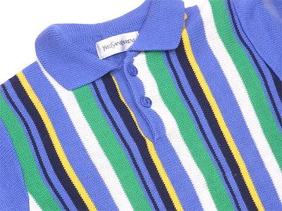 イヴ・サンローランイヴサンローラン YVES SAINT LAURENT ポロシャツ ニット ボーイズ ♯キッズ100サイズ ストライプ ブルー×グリーン系 綿 50%アクリル 50% 【中古】 G945