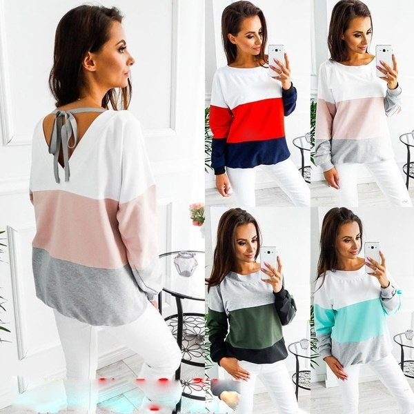 Women Fashion Long Sleeve Top Blouse Shirt Ladies Casual Lace Up Tops Size 6-16
