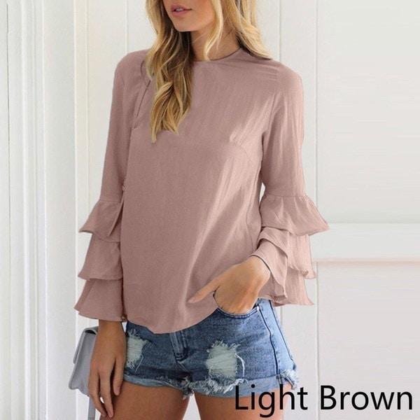 女性ファッション花弁スリーブ長袖シフォンブラウスプラスサイズソルダーカラーシャツ