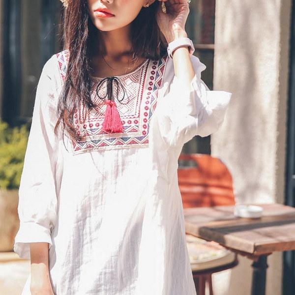 エスニック風 チュニック ワンピース 刺繍 シャツ ワンピース ブラウス ショート丈 ミニワンピース レディース