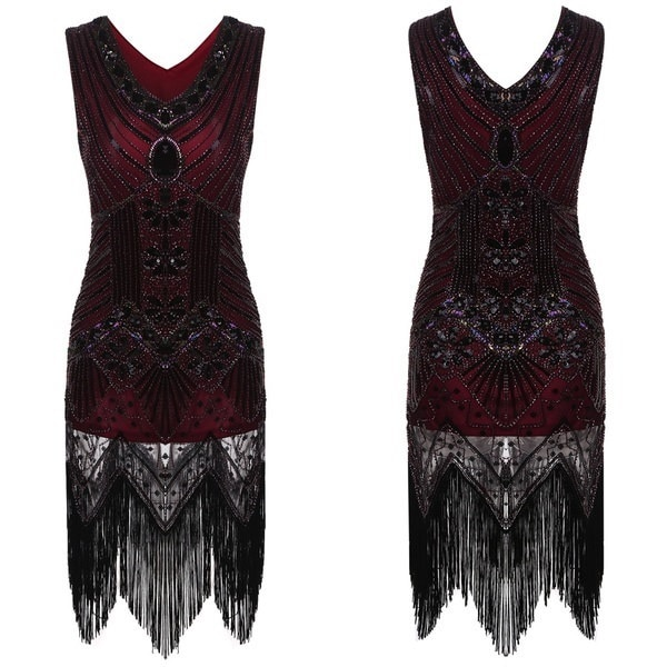 Women Vintage 1920s Sstyle Slim Package Hip V Neck Tassel Sequined Flapper Dress