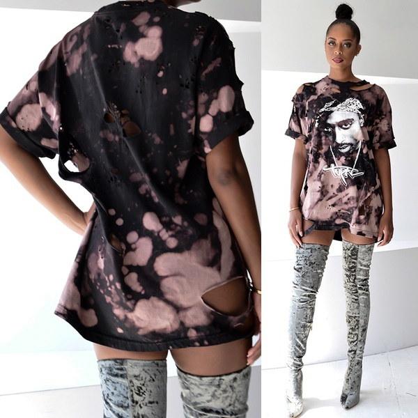 レディース半袖TupacプリントルーズブラウスカジュアルシャツトップTシャツ