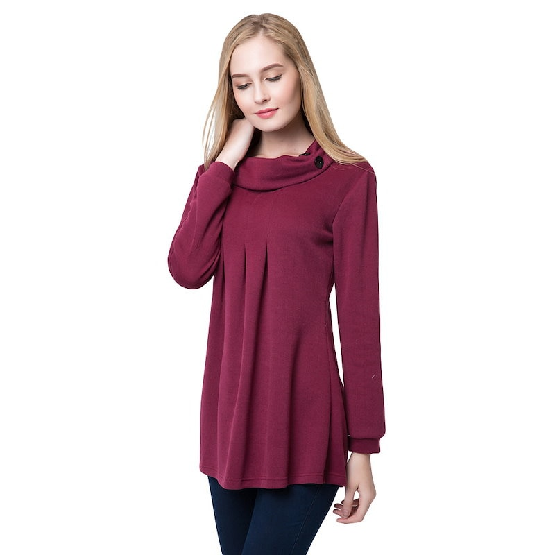 New Fashion Women Top Pleated Button Roll Neck Long Sleeve Casual Autumn Winter Pullover Burgundy