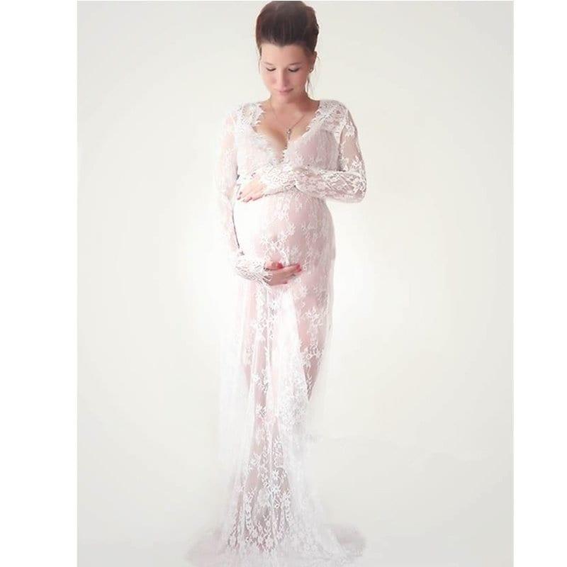 ファンシー妊娠中の写真撮影の服マタニティレースの花嫁妊娠中の写真の小道具Vネック