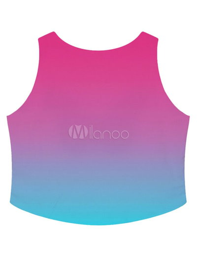 Multicolor Print Polyester Crop Top for Women
