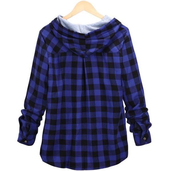 女性の長袖チェック柄のフード付きシャツレディースオーバーサイズカジュアルボタンダウンルーズフィットジャケット