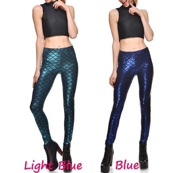 女性のための新しいファッションジムレギンスマーメイドのスケールプリントハイウエストスポーツレギンスフィットネスプラスサイズ