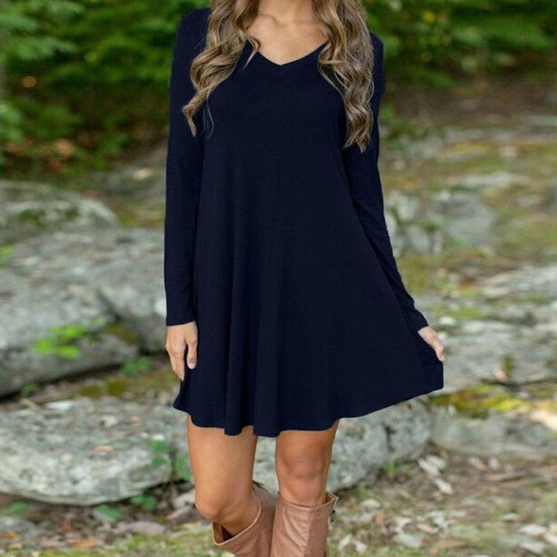 Women Autumn Winter Casual Long Sleeve Evening Party Short Mini Dress   USA Stock