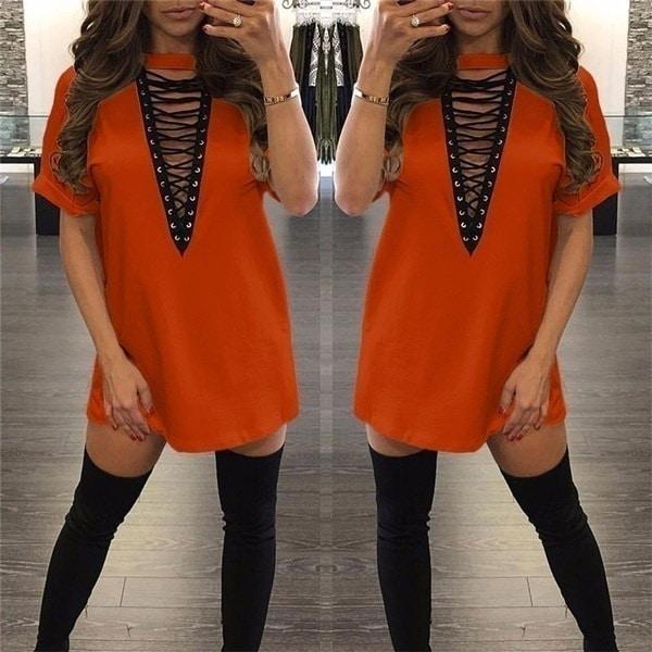 夏の女性のファッションセクシーなVネック中空半袖ソリッドカラーコットンナイトクラブカジュアルTシャツ