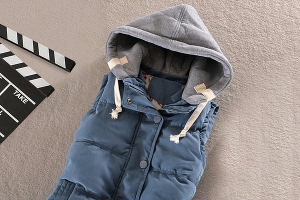 Gilet Veste Womenベストウォームノースリーブジャケットコットンソリッドフード付きベスト(サイズ:XXXXL