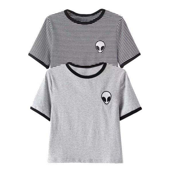 女性の夏の半袖Teeブラウスカジュアルな作物トップエイリアンの印刷TシャツS  -  XL