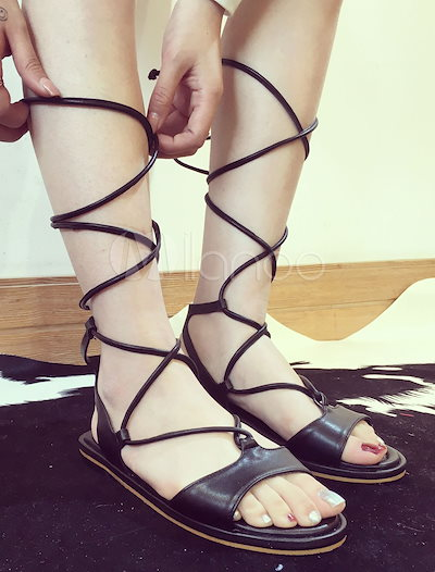 Black Gladiator Sandals Cut-Out Lace Up PU Heels for Women